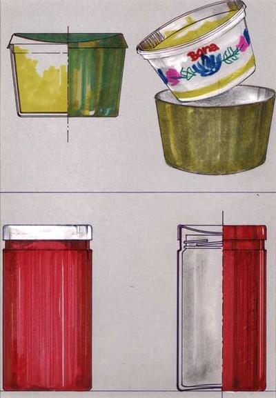 Ontwerptekening van een groene, ronde houder met deksel voor boterkuipjes; links boven een doorsnede, rechts de houder zonder deksel met een kuipje Bona. Daaronder een ronde, cylindervormige, jampothouder. Links een rode houder met blank metalen deksel; daarnaast een dwarsdoorsnede, waarin de jampot zichtbaar is.