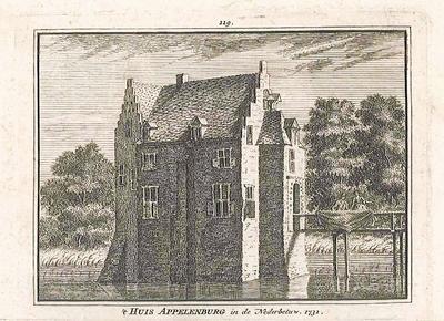Kopergravure, voorstellende Huis Appelenburg in de Neder-Betuwe; opschrift  't Huis Appelenburg in de Nederbetuw. 1732.