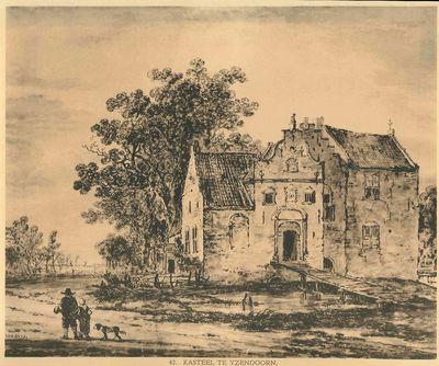 Reproductieprent, voorstellende het kasteel te Yzendoorn; op de voorgrond twee personen en een hond.