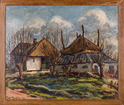 Olieverf schilderij van een T-boerderij van de achterkant gezien en een hooiberg op een schuur. Op de voorgrond drie knotwilgen. Het doek is ingelijst in een brede eikenhouten lijst, die uit drie facetten bestaat.