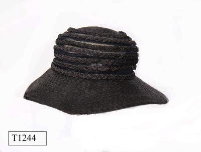 Donker blauwe dames hoed van stro.
