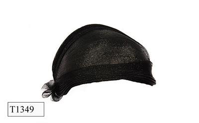 Zwart platte ovaalvormige dameshoed met strik.