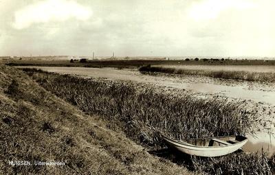 Strang met bootje in het riet circa 1960. Aan de horizon het Arnhemse industrieterrein Kleefsewaard.