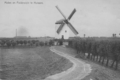 Korenmolen van de famiie Th. Heyckmann in de uiterwaarden. Op de achtergrond zijn een steenfabriek en woonhuizen aan het Looveer zichtbaar.