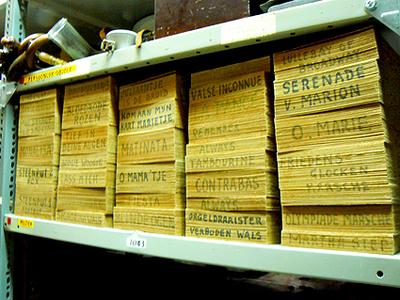 Draaiorgelboeken (43 stuks), Verschillende melodieen. Datering 1960-1980.
