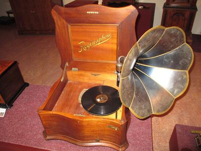Dit instrument is een slimme combinatie van een schijvenspeeldoos en een grammofoon. Edisons uitvinding van de phonograph luidde rond 1900 het einde in van de inmiddels populaire schijvenspeeldozen. Al gauw wilde iedereen een moderne grammofoon hebben die de menselijke stem en muziek van hele orkesten kon reproduceren. Om niet al die zinken schijven van de speeldoos waardeloos te maken ontwikkelde de Amerikaanse firma Regina een 'overgangsvorm' waarop beide soorten schijven konden worden afgespeeld. Het bleek een schot in de roos. Deze combinatievorm werd al snel over de hele wereld verkocht; van 1902 tot 1919 produceerde Regina meer dan 100.000 instrumenten.