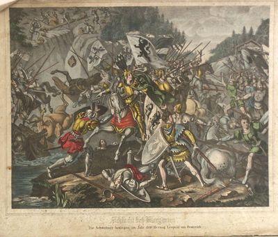 Strijdgewoel vol paarden, ruiters, strijdende mannen in harnas. Sommige paarden en mannen zijn gevallen. Links boven zijn mannen bezig palen en rotsblokken naar beneden te gooien.