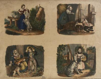 Blad met vier plaatjes voorstellend meisje met geit, meisje met hond en slapende jongen, twee meisjes met hond, meisje met mandje en hond