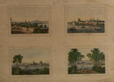 Op een blad zijn vier stadsgezichten afgebeeld.