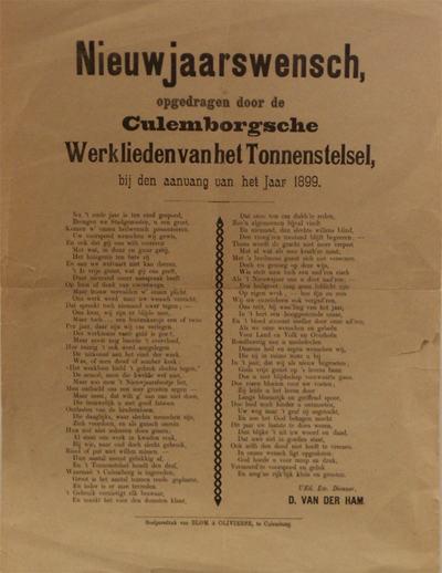 Onder een kop van vijf regels staat in twee kolommen de wens van de werklieden van het tonnenstelsel, ondertekend door D. van der Ham