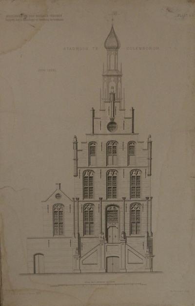 Technische tekening van de voorgevel van het stadhuis te Culemborg. Met schaalverdeling