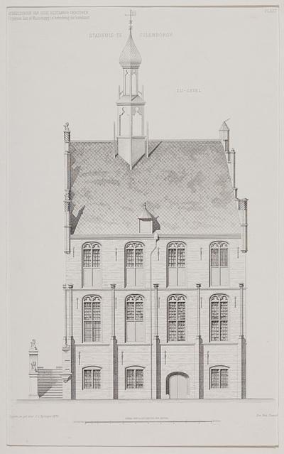 Technische tekening van de zijgevel van het stadhuis te Culemborg. Met schaalverdeling.