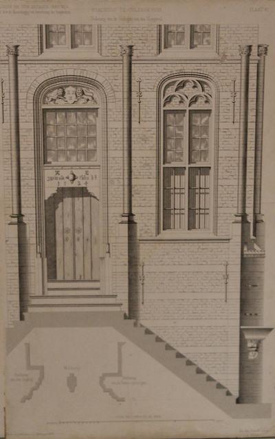 Technische tekening van de toegangsdeur en deel bordes van het stadhuis te Culemborg. Detaisl. Schaalverdeling.