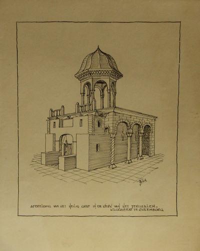 Het heilig graf met colonnade en baldekijn.