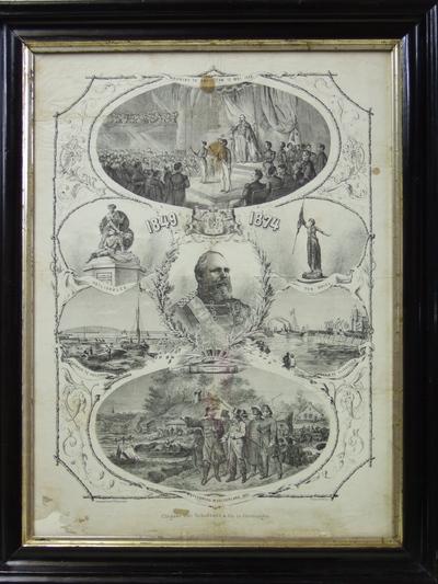 Centraal een portret van koning Willem III. In de onderste ovaal is het bezoek van de vorst aan het watersnoodgebied afgebeeld. Geheel boven de inhuldiging; daar onder links Heiligerlee, rechts Den Briel; daar onder links de spoorbrug bij Culemborg en rechts de haven van Vlissingen;