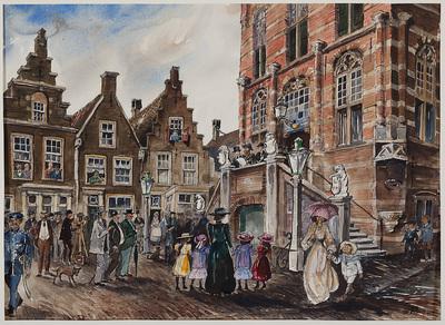Markt te Culemborg met rechts de onderzijde met trap van het stadhuis; links drie gevels. Vanaf het bordes van het stadhuis wordt een afkondiging gedaan. Voor het stadhuis is een menigte mensen samen gekomen: mannen, vrouwen, kinderen, fotograaf.