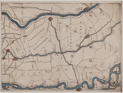 Kaart van de graafschappen Buren en Culemborg. Links boven Loevestein; rechts boven Hagestein; links onder fort St. Andries en rechts onder Maurik.