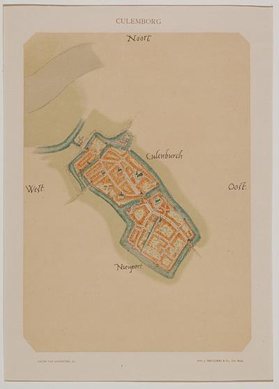 Plattegrond van Culemborg aan de Lek. Duidelijk is de driestad te zien. Grachten, kerken, gebouwen, poorten, wateren; kasteel. Met aanduidingen Noord, Oost, Zuid en West.