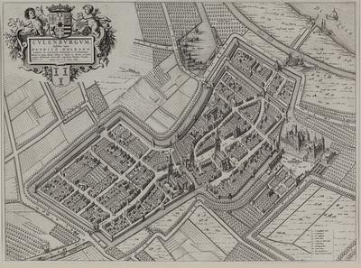 Plattegrond van Culemborg. In de linker bovenhoek opdracht aan en wapen van graag Henrick Wolraet; stadswapen. Rechts onder verklaring met namen.