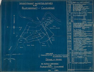 Kaart van het polderdistrict Culemborg met sloten, vaarten, wateren; met nummers, die in een strook aan de rechterzijde worden verklaard.