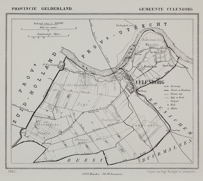 Kaartje van de gemeente Culemborg. Met aangifte van wegen, wateren en topografische namen.