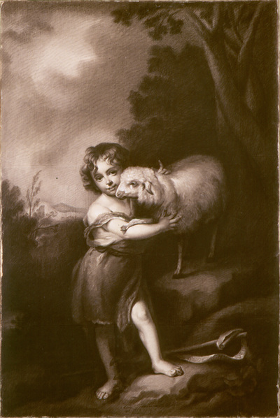 Tekening in zwart krijt, voorstellende Johannes de Doper als kind ten voeten uit, aanziend afgebeeld en gehuld in draperie en met het Lam Gods in de armen, een banderole met tekst rechtsonder 'Ecce Agnus Dei'. In de achtergrond een landschap met geboomte rechts en een doorzicht linksboven. Anna Paulowna (1795-1865) beoefende haar leven lang de teken- en schilderkunst als liefhebberij. Mede dankzij het onderwijs van professionele kunstenaars, zoals de Zwitserse miniatuurschilder François Ferrière, wist zij hierin een redelijk niveau te bereiken. Er zijn miniaturen van haar hand bewaard gebleven, portretten van haar kinderen. Haar specialisme was echter het met zwart krijt natekenen van schilderijen van oude meesters uit de keizerlijke collectie. Zo maakte zij onder meer kopieën naar een H. Familie van Raphael en naar een schilderij van Rembrandt. Deze dateren allemaal uit de jaren voor haar huwelijk. De tekening 'Johannes de Doper met het Lam Gods' is een kopie naar een schilderij van de Spaanse schilder Bartolomé Esteban Murillo (1617-1682) uit omstreeks 1665. Het origineel bevindt zich tegenwoordig in de National Gallery in Londen, maar er waren in St.-Petersburg niet minder dan drie versies van aanwezig: in de collecties van prins Potemkin en graaf Stroganoff en in de keizerlijke verzamelingen. Dit laatste exemplaar is door vererving terecht gekomen in het museum in Weimar. Hoe Anna te werk ging, is niet duidelijk. De tekening is een zo getrouwe kopie van het schilderij, dat zij haast wel gebruik heeft moeten maken van een overtrek- of ponstechniek. Dit neemt echter niet weg, dat de tekening een technisch hoogstandje is. Nergens zijn vlekken of vegen zichtbaar, wat voor een zo grote tekening in een zo kwetsbaar materiaal als krijt bijna ongelofelijk is. De ingelijste tekening kreeg hij een plaats in het kabinet van Anna's moeder, tsarina Maria Feodorovna, in het Winterpaleis in St.-Petersburg. Vanaf 1840 hing hij bij Anna en haar man, koning Willem II, in Paleis S