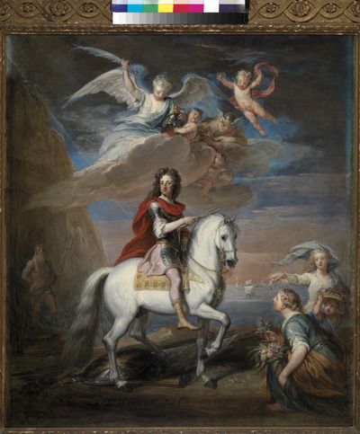De uit Duitsland afkomstige Gottfried Kneller (1646-1723) werd de hofportrettist van Willem III en Mary Stuart, toen zij in 1689 koning en koningin van Engeland waren geworden. Hij was dan ook de maker van de officiële staatsieportretten, waarop het koningspaar in hun kroningsgewaden staat afgebeeld. Rond 1700 ontstond het idee voor een groot ruiterportret van Willem III, dat in de presentiezaal van Hampton Court, tegenover Willems troon, geplaatst zou worden. Het grote stuk, dat in 1701 werd voltooid, bevindt zich nog steeds ter plaatse. Ter voorbereiding maakte Kneller een aantal studies of modello's in olieverf op kleiner formaat, die in uitvoering en coloriet sprankelender en aantrekkelijker zijn dan het definitieve schilderij. Een van deze schetsen bevindt zich sinds 1985 in de collectie van Paleis Het Loo. Het is een stuk vol symboliek, dat door de huidige beschouwer niet zonder meer begrepen kan worden. Koning Willem, gekleed in een Romeins harnas, rijdt in stappende gang op een wit paard, de maarschalkstaf in de hand en de Orde van de Kousenband om de hals. Onder de hoeven van het paard ligt krijgstuig op de grond, ten teken dat de periode van oorlogvoeren ten einde is. Links is de god Neptunus te zien, die de zeeën tot bedaren heeft gebracht. Rechts knielen twee vrouwenfiguren. Het zijn de godinnen Ceres, die de vorst een olijftak ten teken van vrede aanbiedt, en Flora, die bloemen op zijn pad strooit. In de hemel, omringd door putti en de bode der goden Mercurius, verschijnt de maagd Astrea, de personificatie van de rechtvaardigheid, met een palmtak als eerbewijs voor de vorst in de hand. De aanwezigheid van Astrea is de spil waar de interpretatie van dit schilderij om draait. Haar terugkeer op aarde, voorspeld door de klassieke dichter Vergilius, zou het einde van het IJzeren Tijdperk inluiden. Er zou een kind worden geboren, dat over een vreedzame en rechtvaardige wereld zou heersen in een nieuwe Gouden Eeuw. In de klassieke Oudheid werd dit kind geïdent