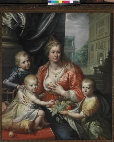 Schilder Paulus Moreelse (1571-1638) heeft Sophia Hedwig van Brunswijk-Wolfenbuttel (1592-1642), echtgenote van de Friese stadhouder Ernst Casimir van Nassau-Dietz, in 1621 op ongebruikelijke wijze geportretteerd. Hij gaf haar weer als de verpersoonlijking van de belangrijkste der drie christelijke hoofddeugden, de Caritas ofwel de (Moeder)liefde. De gravin is op dit kniestuk zittend afgebeeld met het gezicht trois-quart naar rechts en gekleed in een rode jas over een wit hemd met mouwen en een blauwe rok en draagt in het haar een juweel, bevestigd aan dubbel parelsnoer, een peervormige parel als oorbel, een dubbel parelsnoer met juweel om hals en drie-dubbel parelsnoer om polsen. Sophia Hedwig is op dit portret omringd door haar drie kinderen Hendrik Casimir I (1612-1640), Willem Frederik (1613-1664), beide gekleed à la romaine, en Maurits (1619-1628) als baby zittend op een kussen, van wie één haar een schaal met vruchten -als teken van vruchtbaarheid- aanreikt. Dit is echter niet het meest in het oog springende detail van het schilderij. Dat is ongetwijfeld de ontblote borst van de gravin, waarin zij bovendien nog knijpt alsof zij een voedende moeder is. Dit beeld versterkt de allegorische boodschap van het schilderij. Paulus Moreelse heeft de voorstelling boven de alledaagse werkelijkheid verheven door de hoofdpersonen in kleurige, Oosters aandoende fantasiekostuums te kleden. Ook de classicistische architectuur op de achtergrond zorgt voor een vervreemdend effect. Opvallend is echter de dubbele moraal die in het schilderij besloten ligt: in de deuropening op de achtergrond is, naast een bonte pauw, de min te zien, de voedster van de jongste telg van het gezin, gekleed naar de mode van de eigen tijd! Moreelse deed zijn inspiratie voor deze allegorie mogelijk op in de kringen van het Boheemse hof in Den Haag, waar Sophia's nicht Elizabeth Stuart, 'de Winterkoningin', een koninklijke hofstijl introduceerde. Hier werden voor het eerst toneelstukken en maskerades op