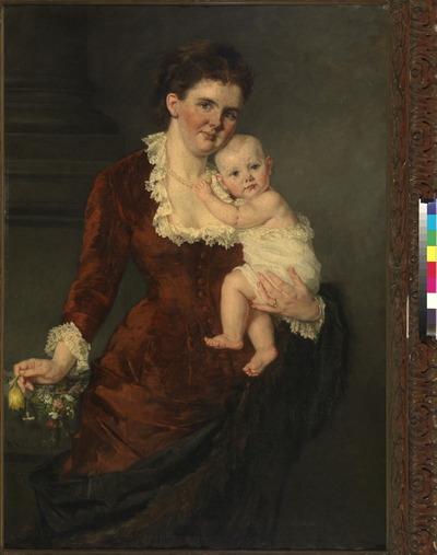 Dubbelportret van een staande Emma van Waldeck-Pyrmont, koningin der Nederlanden, en haar dochter, prinses Wilhelmina. De koningin is afgebeeld met het gezicht trois-quart naar rechts draagt om de hals een witte parelketting en is gekleed in donkerrode jurk met witkanten kraag en manchetten en houdt in haar rechterhand een bosje bloemen vast. De kleine prinses, aanziend afgebeeld en door Emma op de linkerarm gedragen, is gekleed in een wit hemd met een kanten bovenrand en houdt met haar linkerhandje de parelketting van haar moeder vast. Gedurende bijna veertig jaar was Thérèse Schwartze (1851-1918) de favoriete portretschilderes van de koninklijke familie, van koningin Wilhelmina in het bijzonder. Niet alleen zal Schwartze's manier van schilderen de jonge vorstin hebben aangesproken, ook het feit dat zij een vrouw was, heeft waarschijnlijk in haar voordeel gewerkt. Dit zorgde ervoor dat de koningin zich tijdens het poseren op haar gemak voelde. Het portret van koningin Emma met de kleine Wilhelmina op de arm was de eerste opdracht die Thérèse Schwartze van het hof kreeg. Het was bedoeld voor de verjaardag van de koning op 19 februari 1881 en Thérèse was zojuist benoemd tot lerares tekenen en schilderen van prinses Maria, de weduwe van prins Hendrik 'de Zeevaarder', schoonzuster van koning Willem III en koningin Emma. Hierna zouden er nog vele opdrachten volgen, die vaak in meerdere versies en exemplaren geleverd moesten worden. Het portret vertoont alle kenmerken die Schwartze's werk zo populair maakten: een goede, maar enigszins geflatteerde gelijkenis, een innemende compositie en een fraai coloriet. Het is een van de weinige portretten waarop koningin Emma in modieuze kleding staat afgebeeld. Na de dood van haar man koning Willem III in 1890 ging zij uitsluitend als weduwe gekleed in de kleuren zwart, wit, grijs en paars. In maart 1881 prijkte het schilderij op een tentoonstelling ten bate van de slachtoffers van de watersnood van 1881 in de Gotische Zaal in Den H