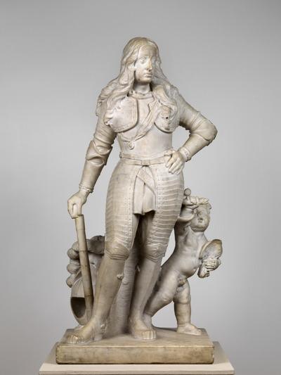 Het beeld toont de jonge Willem III (1650-1702) als veldheer, gekleed in harnas, de gepluimde helm op de grond geplaatst, de rechterhand steunend op de commandostaf, de lange haren golvend over de schouders en het ordelint van de Orde van de Kousenband goed zichtbaar. Rechts van hem staat een putto met een adelaar en een slang. Jan Blommendael (1636-1707) schreef zich in 1675 als 'Mr Beelthouwer' in bij het Haagse schildersgilde Pictura. Het is niet bekend of hij dit beeld in opdracht of op eigen initiatief heeft gemaakt.Mogelijk is het als schets bedoeld voor een aanvulling op de vier levensgrote marmeren beelden van Willem I, Maurits, Frederik Hendrik en Willem II, allen als veldheer en in harnas, die Amalia van Solms door François Dieussart in 1646-1647 liet maken. Willem III liet de vier beelden van Huis ten Bosch naar Honselaarsdijk overbrengen en de inventaris van 1694 vermeldt hen in de Grote Galerij. Maar of ooit overwogen is zijn eigen beeltenis aan deze reeks toe te voegen, is niet bekend. Verschillen met de levensgrote beelden zijn de iets elegantere houding van de prins en de toevoeging van de putto met slang en adelaar.