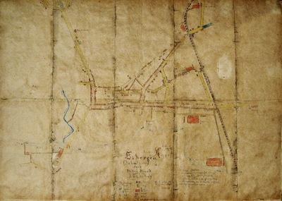 Met potlood getekende en ingekleurde plattegrond van Eibergen, schaal 1:3000. Op 10 aan elkaar geplakte vellen bruin papier.