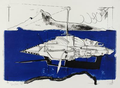 Lithografie in blauw en zwart, voorstellende een ruimteschip. In de afbeelding zijn diverse namen en teksten te lezen.