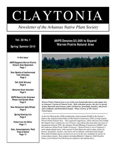 Claytonia : newsletter of the Arkansas Native Plant Society.