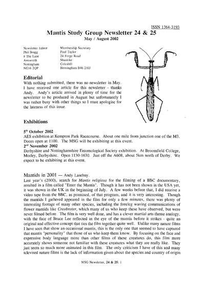 Mantis Study Group newsl.