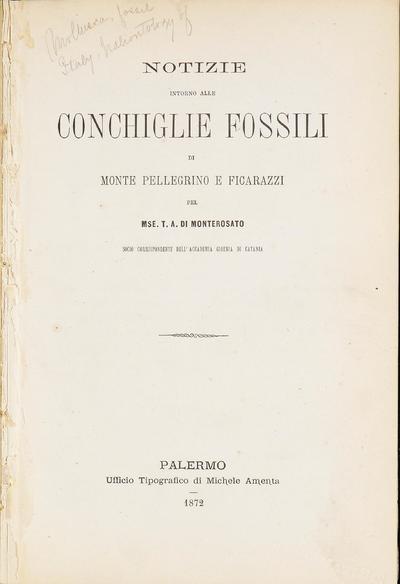 Notizie intorno alle conchiglie fossili di Monte Pellegrino e Ficarazzi /