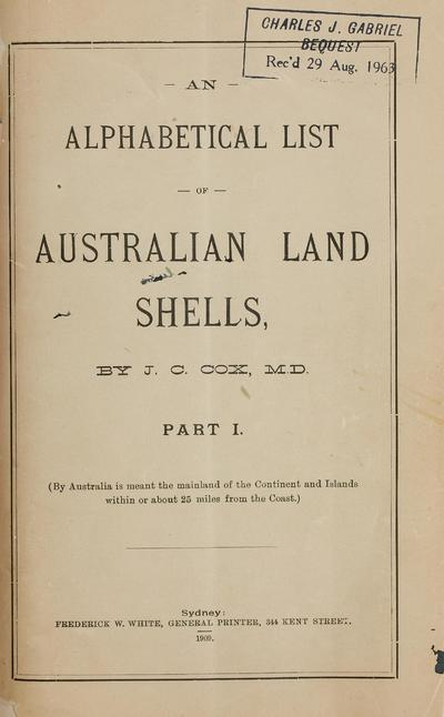An alphabetical list of Australian land shells.
