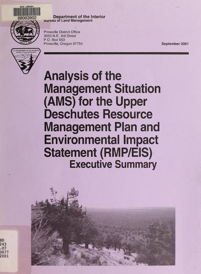 Upper Deschutes resource management plan and environmental impact statement