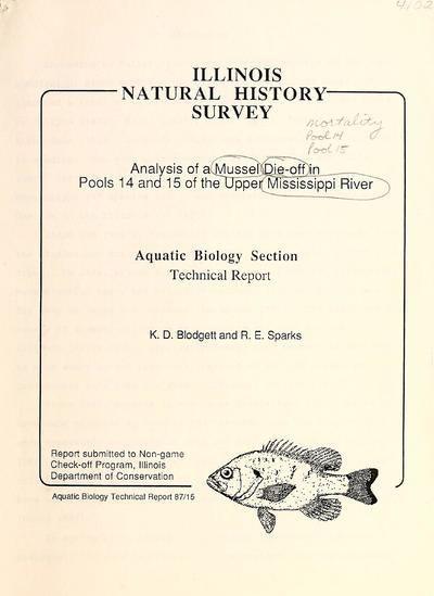Analysis of a mussel die-off in Pools 14 and 15 of the Upper Mississippi River.
