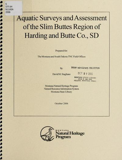 Aquatic surveys and assessment of the Slim Buttes region of Harding and Butte County, South Dakota