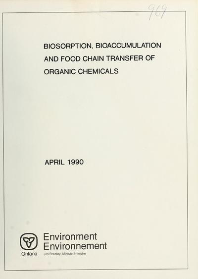 Biosorption, bioaccumulation and food chain transfer of organic chemicals : report prepared by F. A. P. C. Gobas and D. Mackay.