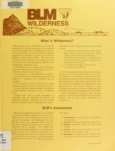 BLM wilderness newsletter
