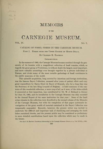 Catalog of fossil fishes in the Carnegie Museum / by Charles R. Eastman.