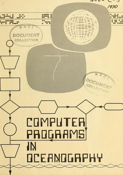 Computer programs in oceanography / Compiled by C. Dinger.