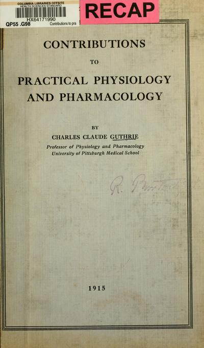 Contributions to practical physiology and pharmacology.