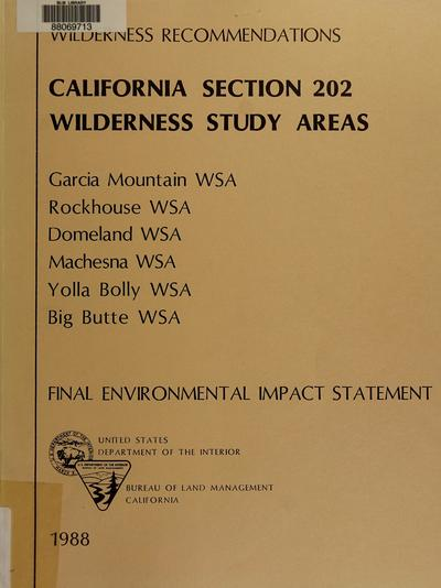 California Section 202 wilderness study areas