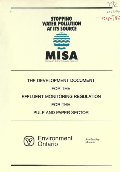 The Development document for the effluent monitoring regulation for the pulp and paper sector.