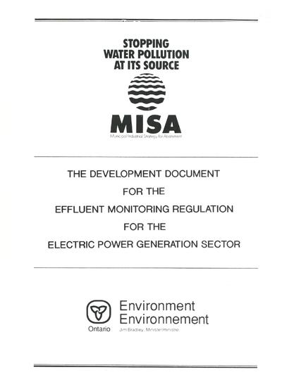 The Development document for the effluent monitoring regulation for the electric power generation sector.