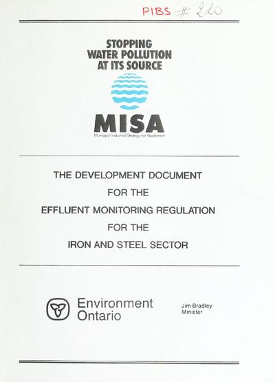 The Development document for the effluent monitoring regulation for the iron and steel sector.