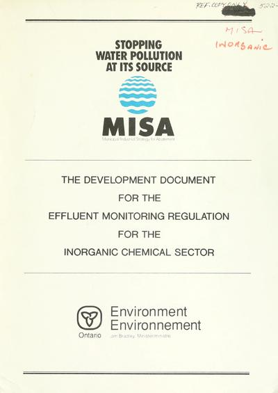 The Development document for the effluent monitoring regulation for the inorganic chemical sector.
