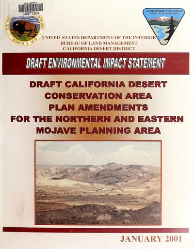 California desert conservation area plan amendments for the northern and eastern Mojave planning area